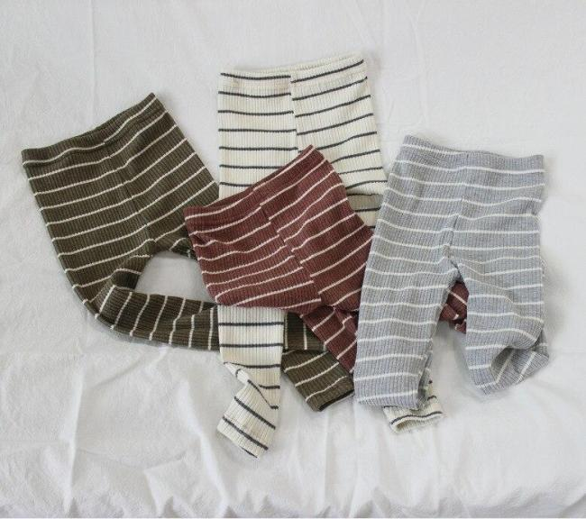 Kids Striped Leggings Children Basic Skinny Trousers Casual Cotton Thin Pants