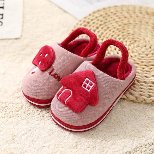 Children Winter Keep Warm Indoor Slippers Girls Cartoon Mushroom House Thicken Slippers