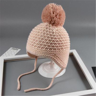 Cute Big Hair Ball Winter Baby Kids Cotton Knitted Caps Woolen Caps