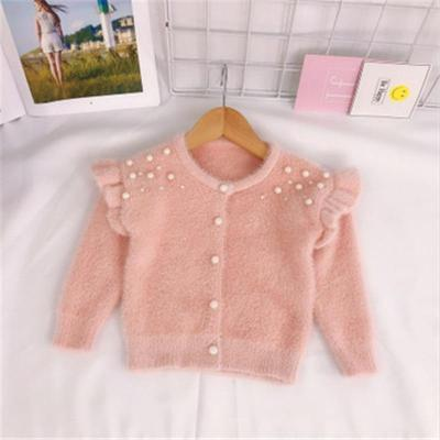 Infant Baby Toddler Clothes Sweaters Knitted Pearls Cardigan Coat For Girls