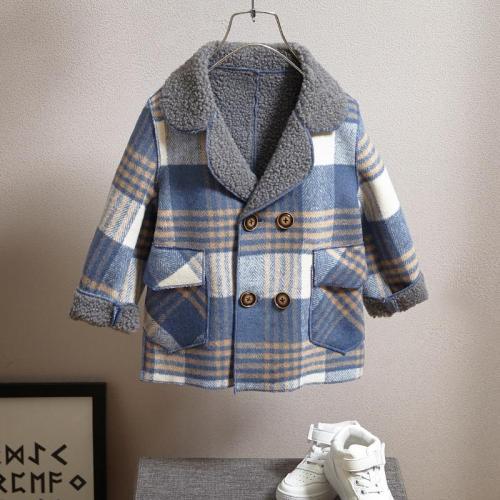 Boy's Coat Kids Jacket Children Long Wool Coat Thick