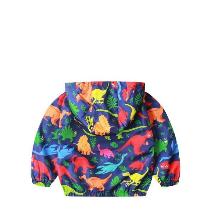 Cotton Jacket For Kids Boys Windbreaker Cartoon Dinosaur Children Coat