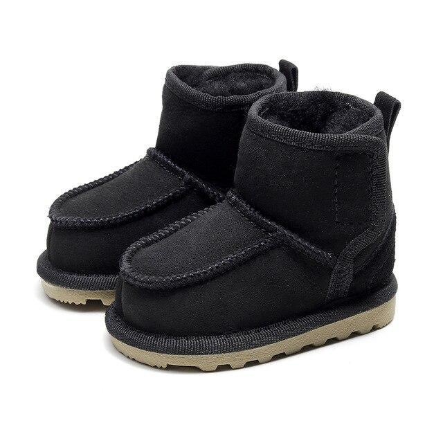 Geanuine Leather Baby Snow Boots for boys Kids Sheepskin Real Fur Shoes