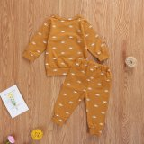 Infant Baby Boys Shirt Jogger Pants Suit Sun Printed Round Neck Long Sleeve Lace-up Trousers
