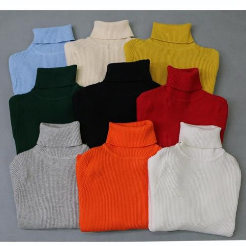 Girls Turtleneck Sweaters For Winter Knitted Bottoming Sweaters