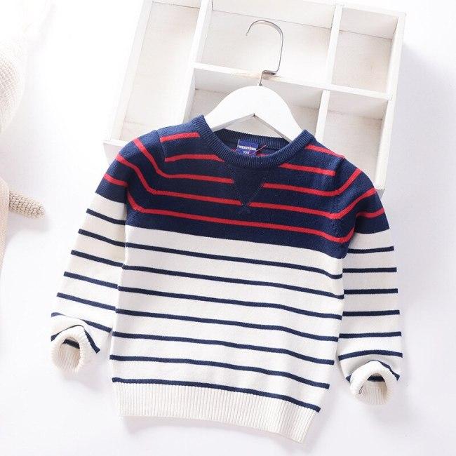 Boys Sweater Kids Striped Children Round Neck Top Sweater Baby Clothes