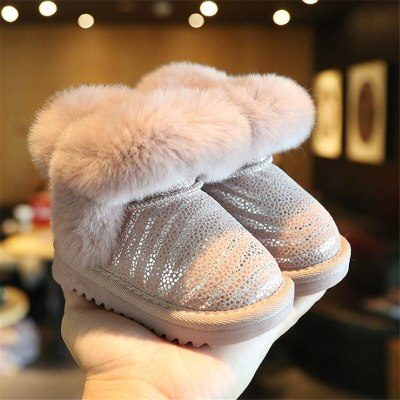 Winter Baby Shoes Rabbit Fur Waterproof Genuine Leather Warm Plush Kids Baby Snow Boots