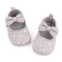 Infant Girl Shoes Star Newborn Baby Prewalker Soft Bottom Anti-slip Bow Princess Crib shoes