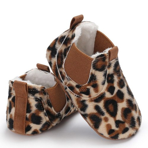 Toddler Newborn Baby Leather Soft Sole Crib Shoes Sneakers Leopard Solid Warm First Walkers
