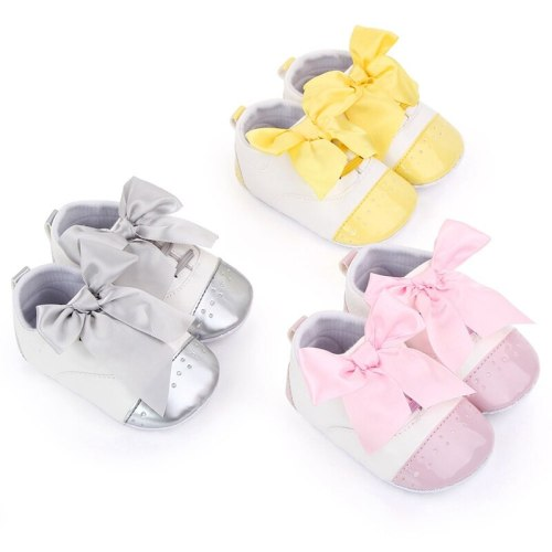 Baby Anti-Slip Shoes For Newborn PU Toddler Bow Princess Girls Soft Sole First Walkers