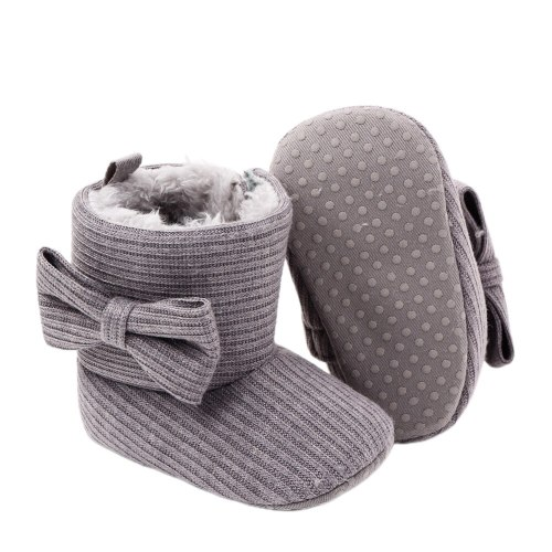 Newborn Toddler Baby Snow Boots Soft Sole Anti-Slip Crib Shoes Winter Warm Cozy Bowknot Booties