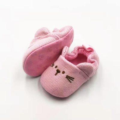 Infant Toddler Baby Knit Crib Shoes Cute Cartoon Anti-slip Prewalker Baby Slippers