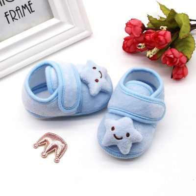 Winter baby toddler shoes newborn baby plush love stars clouds soft sole warm cotton shoes