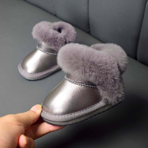 Winter Warm Baby Shoes Soft Microfiber Leather Waterproof Non-Slip Plush Infant Snow Boots