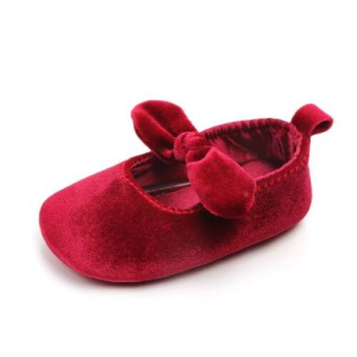 Princess Newborn Baby Girls Shoes Velvet Red Christmas Bow First Walkers
