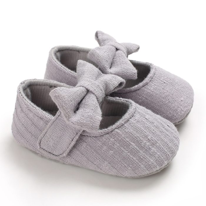 Baby First Walkers Newborn Infant Girls Princess Moccasins Bowknot Solid Soft Shoes