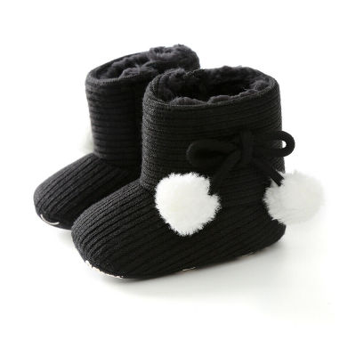 Baby Boots Winter Warm Shoes Solid Fashion Toddler Fuzzy Balls First Walkers Kid Shoes