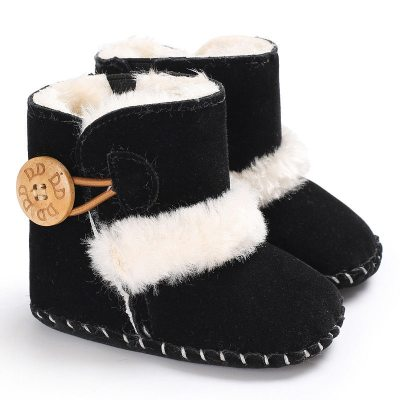 Newborn Infant Baby Snow Boots Winter Warm Baby Solid Button Plush Ankle Boots