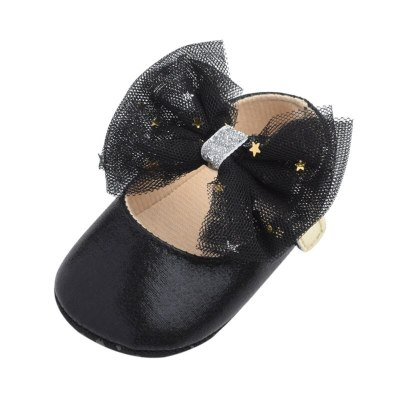 Newborn Baby Girl Bling PU Leather Shoes Kid Moccasins First Walkers Crown Bow Soft Soled Non-slip Footwear