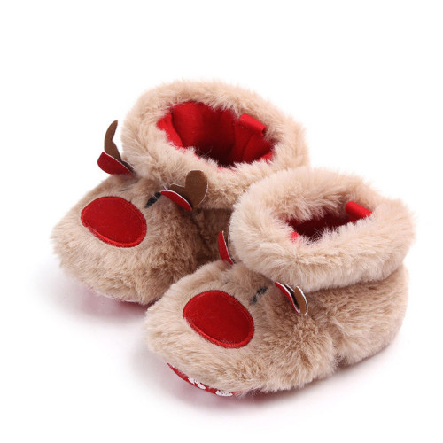 Winter Baby Girls Boys Christmas Elk First Walkers Anti-slip Newborn Shoes