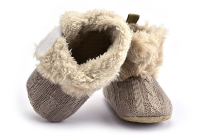Winter Warm First Walkers Baby Ankle Snow Boots Infant Crochet Knit Fleece Baby Shoes