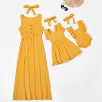 Mom And Daughter Dress Family Look Sleeveless Mommy And Me Clothes Family Matching Outfits