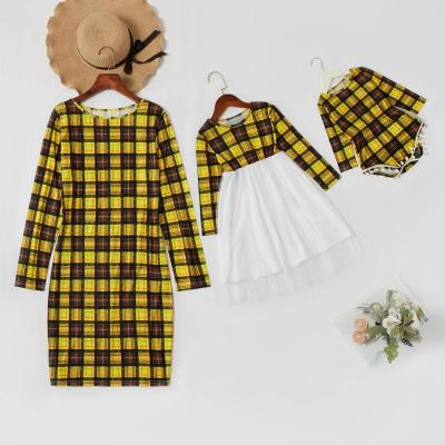 Mommy and Me Plaid Stitching Mesh Long-sleeve Dresses Family Look Matching Dresses