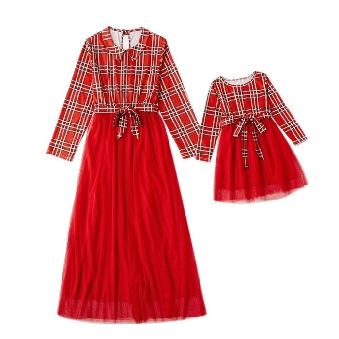 Christmas Dresses Family Look matching Outfit Mommy and me Party Princess Plaid Dress Elegant