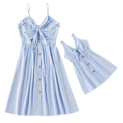 Mommy and Me Dress Family Matching Outfits Fashion Sleeveless Striped Dress Family Look