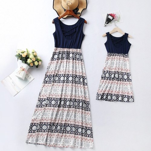 Mom and Daughter Dress Sleeveless Back Cross Patchwork Print Long Dress Family Look