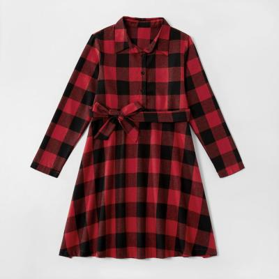 Mommy and Me Christmas Plaid Long sleeve Dresses Clothes Family Look Matching Clothing