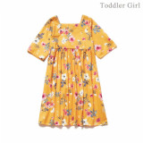 Mom and daughter dress Fashion Square Collar Floral Print Dress Family Look