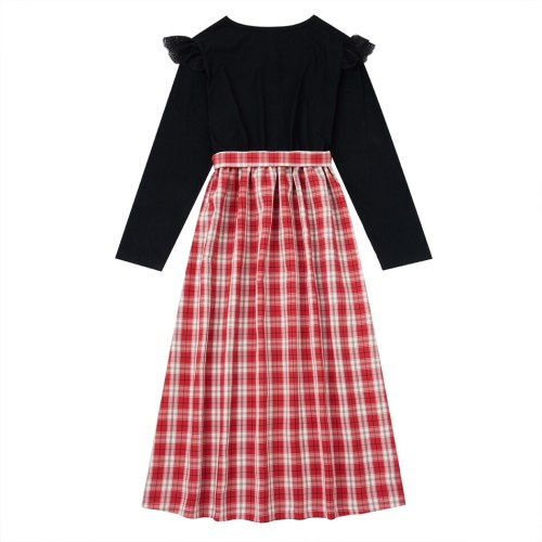 Cotton Bowknot Christmas Plaid Dresses for Mommy and Me Party Tunic Matching Dresses Family Look Sets