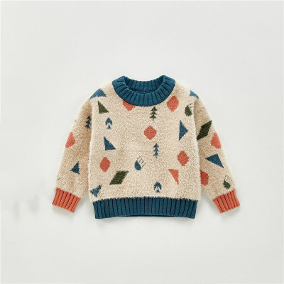 Baby Boys Knitted Crew Neck Sweater Cartoon Geometric Pattern Imitation Mink Long Sleeve Pullover