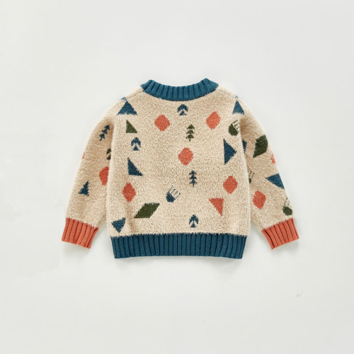 Baby Boys Knitted Crew Neck Sweater Cartoon Geometric Pattern Imitation Mink Long Sleeve Pullover
