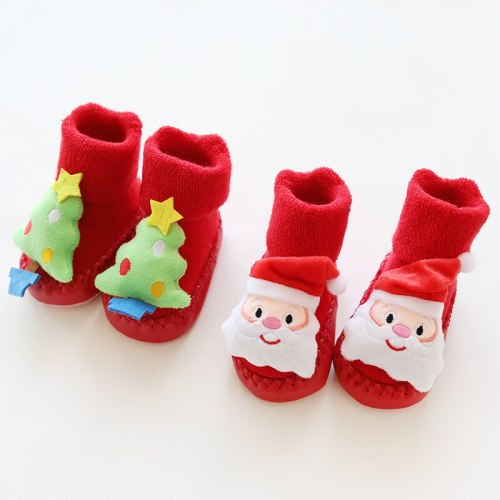 Baby christmas winter newborn socks rubber soles skid resistant indoor socks warm thick sock shoes