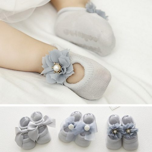 3 Pairs/Lot Lace Flower Newborn Baby Socks Kids Cotton Anti-Slip Floor Socks