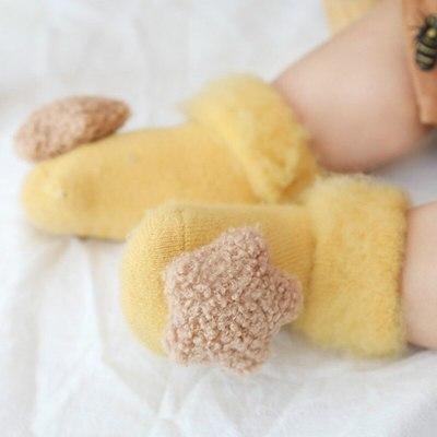 Cute Baby Socks Stereo Doll Socks Velvet Thickening Brush Furry Newborn Floor Socks