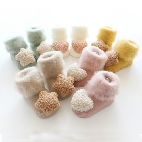 Cute Baby Socks Stereo Doll Socks Velvet Thickening Brush Furry Newborn Floor Socks