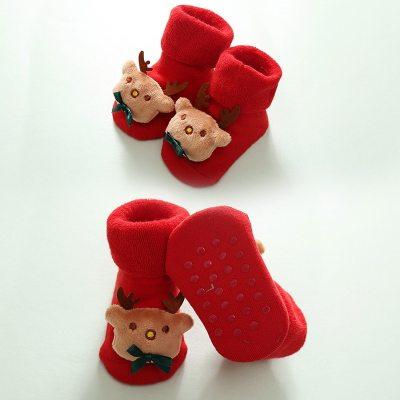 Children's Christmas Doll Baby Socks Keep Warm Elk Kids Infant Toddler Non-Slip Socks