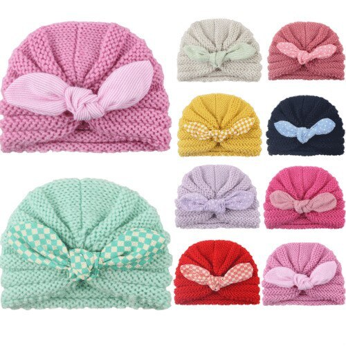 Baby Cotton Cloth Turban Winter Toddler Crochet Beanie Warm Knitted Hat Cap