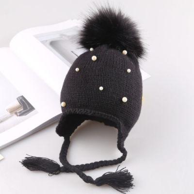 Baby Kids Winter Warm Pearl Crochet Knit Hat Toddler crochet Beanie Fur Pom Outdoor Child Bonnet