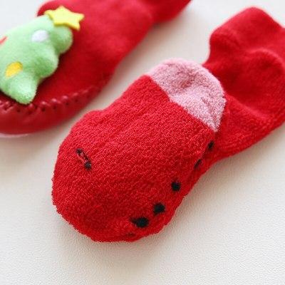 Baby christmas winter newborn socks rubber soles skid resistant indoor socks warm thick sock shoes