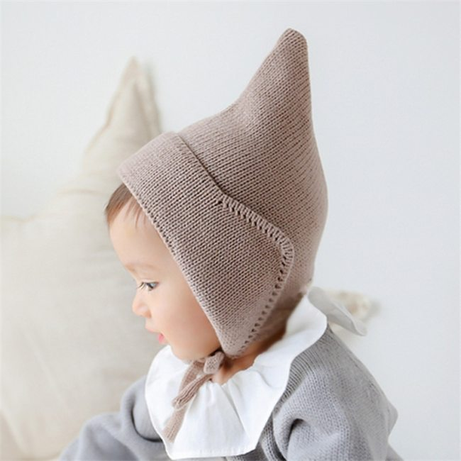 Baby Toddler Hairball Winter Hat Kids Warm Crochet Steeple Witches Knitted Hat Newborn Beanies