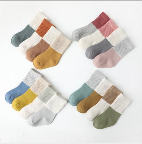 4Pairs/lot baby socks autumn and winter boneless loose mouth baby tube socks
