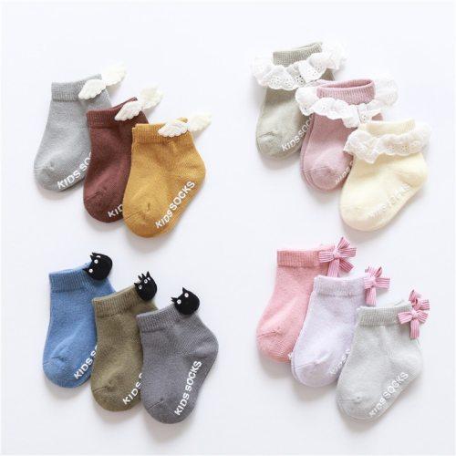 3 pairs baby socks lace ruffle bow newborn baby stuff floor anti slip socks