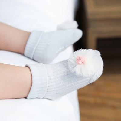 Newborn Baby Girl Cotton Socks Toddler Baby Anti-slip Sock Cute 3D Flower Bowknot Floor Socks