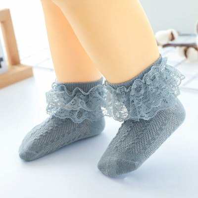 Baby Lace Socks Children's Girls Breathable Ruffled Socks 0-2 Years Old