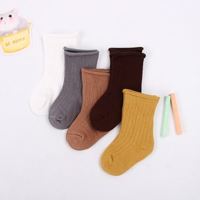 5pairs/lot Baby Toddler Cotton Socks Kids Solid Color Short Ribbed Socks