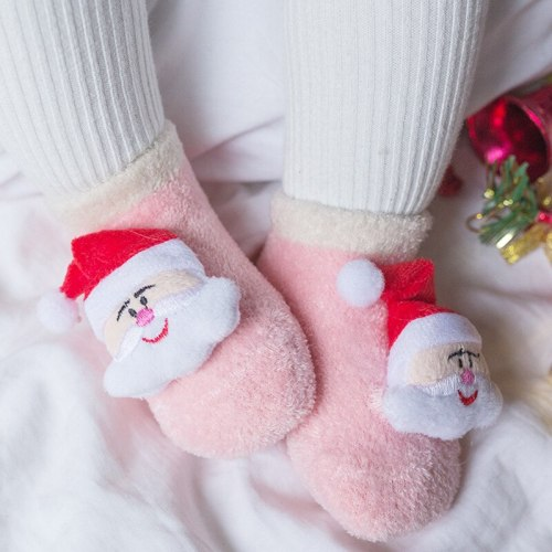 Newborn Baby Anti Slip Socks Winter Warm Thick Infant Baby Cartoon Christmas Socks